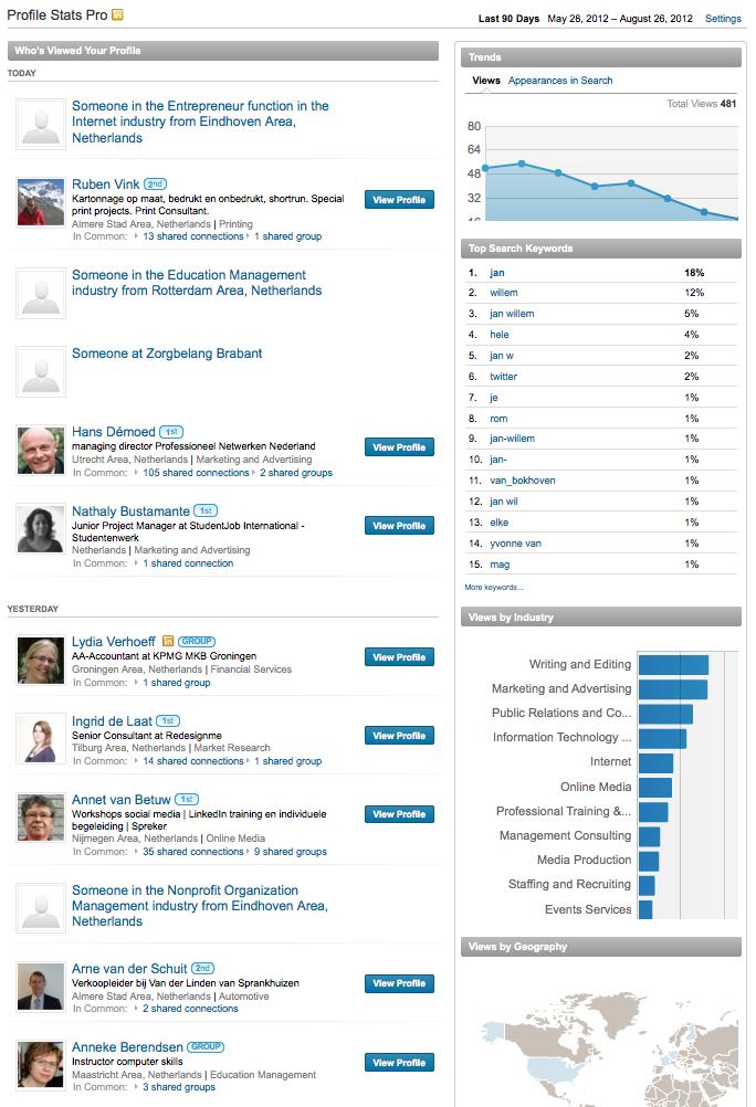 Wie bekeek jouw profiel? Profile stats op LinkedIn ...
