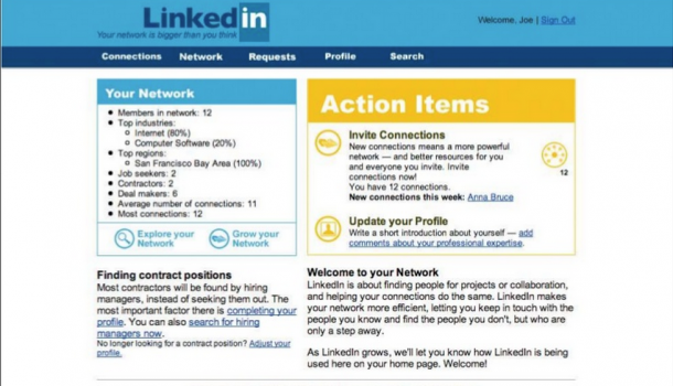 LinkedIn layout door de jaren heen
