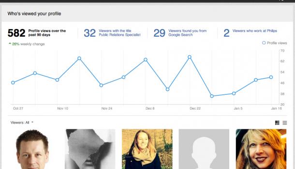 Mooi! de nieuwe 'who viewed your profile' van LinkedIn