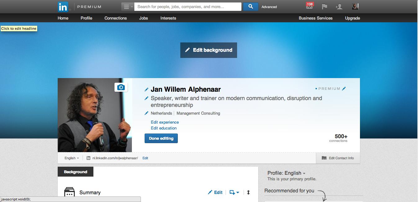 Nieuwe feature – achtergrond afbeelding op LinkedIn ...