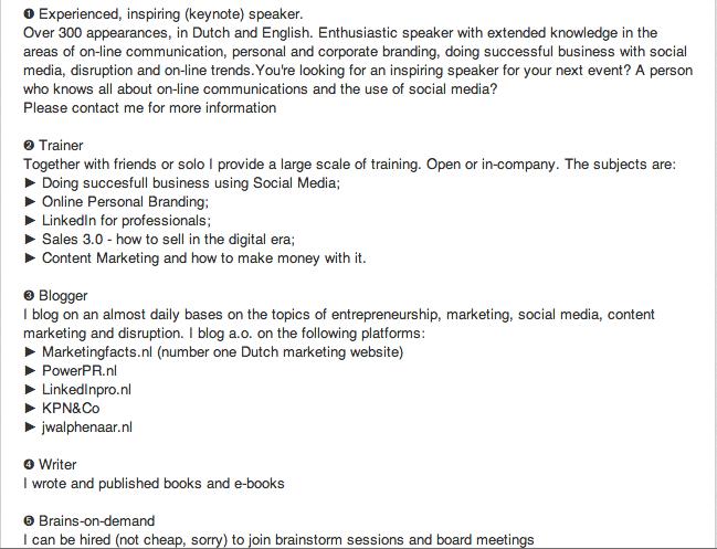 Speciale tekens op Linkedin