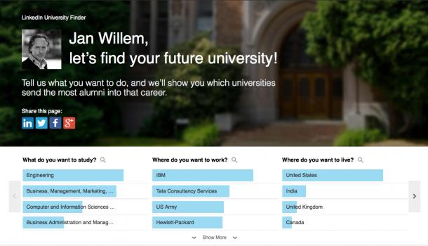 Studiekeuze via LinkedIn? De LinkedIn University Finder helpt