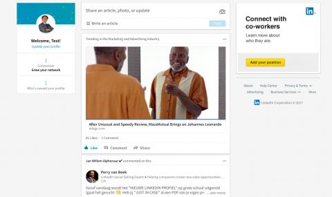 De nieuwe LinkedIn layout naast de oude layout. Een verademing!